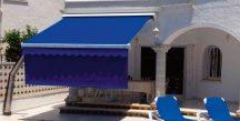 Store banne toile bleue - Côté Fenêtres